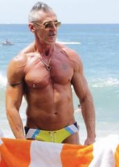 IMG_1157 (danimaniacs) Tags: shirtless pierced man hot sexy guy beach pecs muscle muscular jewelry trunks speedo swimsuit stud