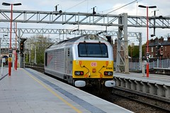 67026 gets the signal to proceed with the 0Z42 Bescot to Arpley Sidings loco move through Stafford, 11th April 2014. (Dave Wragg) Tags: railway loco locomotive skip stafford wcml class67 67026 dbschenker 0z42
