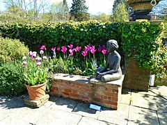 Pashley Manor Gardens (ttelyob) Tags: pink statue tulips pashley pashleymanor pashleymanorgardens picmonkey