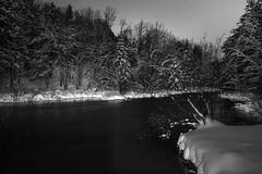 La nuit, l'hiver/At night, in the winter/På en vinternatt [Explore] (Elf-8) Tags: winter snow lightpainting tree night forest river