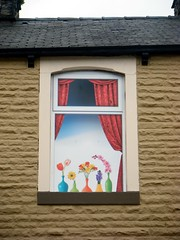 Empty houses Reed Street Burnley Lancashire with painted flowers in Windows (rossendale2016) Tags: unoccupied occupied loved impression imagined condemned up brighten derelict lived implying decorated flowers painted window paintedflowers lancashire burnley reedstreet