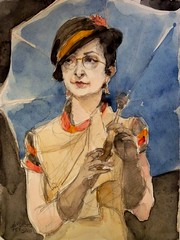 Portrait with old dress, 2011 // by Augusto Marques (mike catalonian) Tags: portrait female watercolor painting halflength 2011 2010s augustomarques