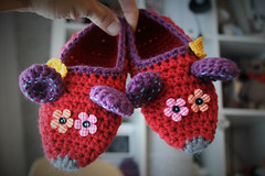 Crochet colorful mouse slippers (lilleliis) Tags: red kids children mouse colorful handmade crochet footwear slippers