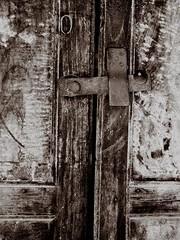 Chinatown - Bangkok (jcbkk1956) Tags: door wood old blackandwhite metal thailand mono nikon chinatown bangkok grain worn bolt latch coolpix4300 fittings