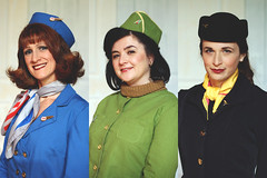 036 | 366 | V (Randomographer) Tags: hat scarf pose three costume women uniform pretty triptych theatre longmont gorgeous flight company human cast actress actor hostess 36 stewardess attendant stewardesses ltc 2016 366 purser boeingboeing cabinattendant project366