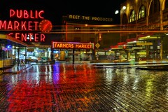 Rainy Reflections (zenseas working) Tags: seattle morning color colour rain reflections dark lights early washington lowlight colorful neon farmersmarket market bricks reflected rainy produce pikeplacemarket pikeplace fishmarket firstavenue publicmarket brickroad