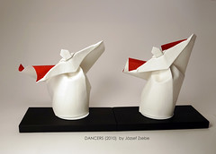DANCERS (2010) (Zsebe Origami) Tags: origami dancer wetfold origamiexhibition origamidancer zsebeorigami jozsefzsebeorigami origamiexhibitontaiwan origamilivingworld