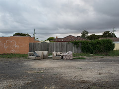 Old school grounds (Jennifer Lea) Tags: orange green wall nikon melbourne rubbish suburbs northern couches thomastown lalor
