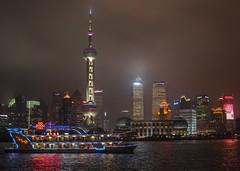 Shanghai skyline (OlegSokol) Tags: china travel water fog architecture night skyscraper river boat flickr shanghai vehicle