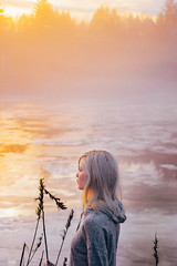 Daybreak (Lulumire) Tags: winter light portrait woman sun ice water colors girl fog self sunrise river colorful pastel young greyhair lululovering