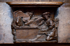 Apothecary administering an enema | Misericords | Choir stalls | St-Gervais-et-St-Protais church | Paris 2016-12 (Paul Dykes) Tags: sculpture paris france march carving patient apothecary woodcarving 16thcentury enema 2016 misericord sixteenthcentury choirstalls churchart vernacularart clyster misericords glisesaintgervais misricordes stgervaisetstprotaischurch glisesaintgervaisetstprotais