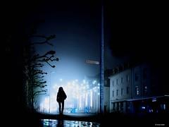 Last x-mas (Ren Mollet) Tags: street xmas morning blue woman silhouette night nightshot streetphotography aarau blau xmaslights bluelight renmollet