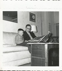 reading the Funny Papers (912greens) Tags: kids comics children reading newspapers 1950s fathers sons sofas readers folksidontknow