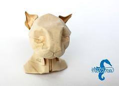 Face Study - Cat (mitanei) Tags: animals cat paperart origami faces masks katze cathead wetfolding katzenkopf danielchang papierkunst origamicat faltkunst mitanei keepfoldingon origamikatze origamicathead origamikatzenkopf