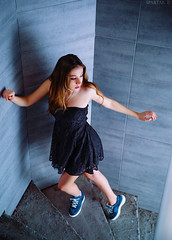 Up (spartak_studio) Tags: blue house sexy girl beautiful up wall spiral dress secret go style away run hide staircase entice lacedress
