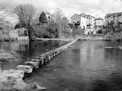 Morpeth Stepping Stones (stephen.lewins (1,000 000 UP !)) Tags: bw monochrome northumberland steppingstones morpeth wansbeck morpethinbw