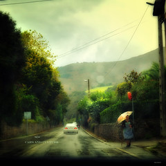 """SDC: cars and Culture"" (Ilargia64) Tags: woman green cars sports nature car rain rural vintage landscape countryside culture impressionism cantabria sdc womanwithumbrella superdeportivoscantabria amayasanchez"
