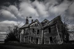 (Rodney Harvey) Tags: house abandoned windmill architecture rural decay missouri collapse crooked