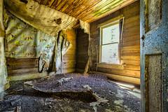 Wallpaper Scenes (KPortin) Tags: door wallpaper abandoned window bedroom decay abandonedhouse peelingpaint filthy mattress dilapidated