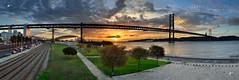 Alcantara Sunrise Panorama (Crop1) (Jos M. F. Almeida) Tags: bridge panorama sunrise harbor lisboa lisbon abril ponte 25 alcantara alcntara