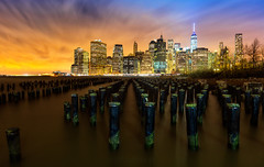 New York colors (el_farero) Tags: world new york nyc longexposure colors skyline clouds canon river one pier nightshot nubes embarcadero nocturna hudson nightcolours 5ds farero