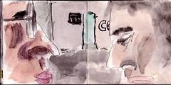 das Konzept der Schuld hatte er nie begriffen, aber dass es mitunter wichtig war, den Kopf einzuziehen, war ihm sehr bewusst (raumoberbayern) Tags: summer bus pencil subway munich mnchen sketch drawing sommer tram sketchbook heat ubahn draw bleistift robbbilder skizzenbuch zeichung
