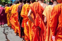 50 shades of orange... (Manon van der Lit) Tags: people orange men feeding buddha buddhist monk row monks round begging collecting alms pindapata