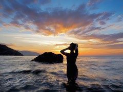 _4050281b (Concert Photography and more) Tags: sunset color beach landscape model maya outdoor philippines posing april mermaid puertogalera controluce silouhette settingsun 2016