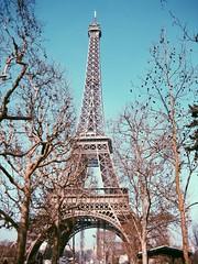 sous le ciel de paris (anthimar) Tags: blue trees sky paris tower landscape flickr day photographer sunny eiffel clear explore ciel vsco