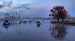 river mist (Anthony White) Tags: morning winter christchurch mist reflection tree nature water fog boats unitedkingdom yacht outdoor lamppost dorset gb feb riverhouse