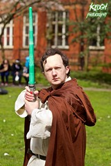 IMG_8952 (Neil Keogh Photography) Tags: fiction red brown white black anime green silver comics grey starwars belt beige pants robe top films science videogames button jedi sword scifi cape sciencefiction lightsaber buckle jediknight starwar jedimaster nwcosplayeastermeet2016