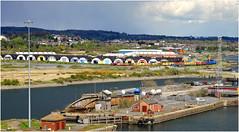 Dock Departure (Welsh Gold) Tags: bridge wales train docks south down basin swing newport barry chemical corning adj 66059 6b39