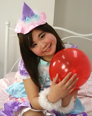 Prince Would Have Wanted (emotiroi auranaut) Tags: red party cute girl beautiful beauty face japan female hair toy doll pretty sweet feminine balloon adorable teen round teenager lovely squeak teenage hopeful femininity hoping