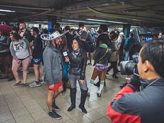 Pantless Sunday 15. (rockerlan) Tags: new york nyc people urban news train underground subway square candid union sunday reporter olympus pantless lifestyles em5