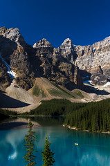 Morning on Lake Moraine, Banff National Park (synaesthesia24) Tags: summer lake canada mountains nature water landscape rockies kayak hiking alberta kayaking banff rockymountains moraine banffnationalpark parkscanada canadianrockies valleyofthetenpeaks rockflour glacialflour
