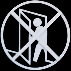 Employees Only (Leo Reynolds) Tags: xleol30x squaredcircle signsafety signcirclecross signno panasonic lumix fz1000 sqset125 groupperil sign peril xx2016xx sqset