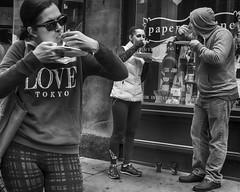 13th Street, 2015 (Alan Barr) Tags: street people blackandwhite bw philadelphia monochrome mono blackwhite eating candid streetphotography olympus sp streetphoto omd 13thstreet 2015 em5