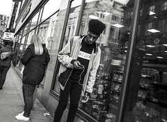 Urban revival (The Green Hornet ( Manchester)) Tags: street city urban music haircut guy fashion manchester photography box centre sub culture cable mp3 player wear listening jacket trendy leisure oldham gr hip hairstyle leaning ricoh stylish teenage clothers