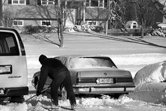 Day After Storm Jonas 04 - Rich Cleans-up After Snow Blowing (George - with over 2 mil views - THANKS) Tags: winter bw usa snow monochrome us blackwhite newjersey unitedstatesofamerica snowstorm january shovel mercercounty ewing winterscene acdseepro photogeorge nikond750 winterstormjonas