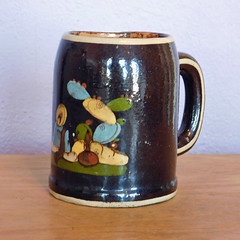 Vintage Mexican Tlaquepaque Black Pottery Hand Painted Mug (karalennox) Tags: black vintage mexico mexican handpainted mug pottery etsy stein tlaquepaque