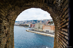 naples view from inside castle on the sea (Prizia) Tags: city sea sky italy castle wall campania view naples seafront landescape
