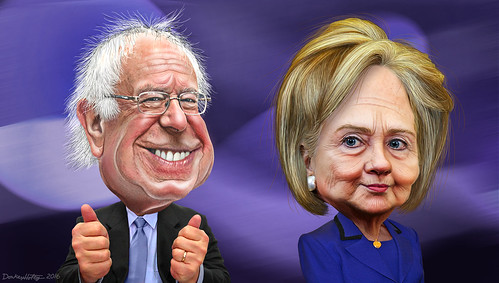 Bernie Sanders and Hillary Clinton - Caricatures