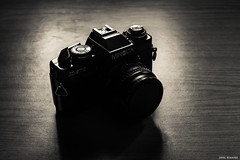 Retro Minolta (Jamal Benamer) Tags: camera shadow blackandwhite bw art film darkroom canon dark darkness minolta retro 80s 1855mm conceptual darkart x570 450d