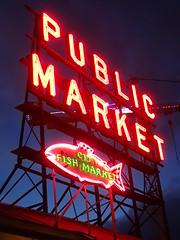 Public Market (incidencematrix) Tags: seattle sign night washington neon market pikes