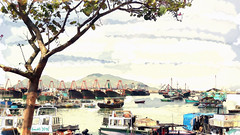 Fishing Boats in Cheung Chau - Hong Kong (boeckli) Tags: painterly texture watercolor boats island hongkong fishing wasser waterfront outdoor fishingboats hafen cheungchau textur dockbay fischerboote wasserfarben