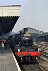 Bristol, Temple Meads station (4), 1985 (Blue-pelican-railway) Tags: film bristol templemeads steamtrain 46443 ivatt