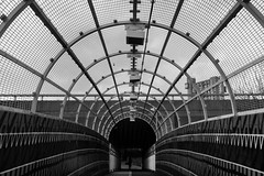 Bridge over the tracks (Gary Kinsman) Tags: bridge bw london tower blackwhite shell cage walkway highrise nottinghill westway trellicktower towerblock w11 councilestate westbournepark socialhousing 2016 fujifilmx100t fujix100t