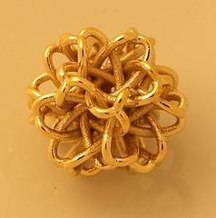 3D printed Polished Brass Pearl (fdecomite) Tags: metal print 3d slide together rhino bead pearl brass shapeways