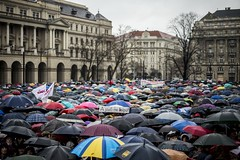 (Esther'90) Tags: city people students rain weather umbrella buildings square education hungary capital budapest protest citylife system demonstration rainy teachers umbrellas policy kossuth sympathizers