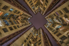 Lookup Hong Kong (urbanexpl0rer) Tags: china longexposure nightphotography color architecture buildings hongkong nightshot outdoor symmetry lookup quarrybay towardsthesky